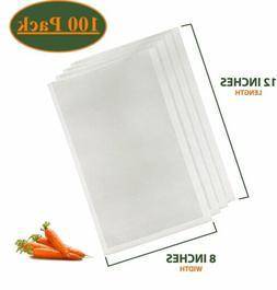 "100 8"" x 12"" Quart Vacuum Sealer Embossed Bags Kitchen Food"