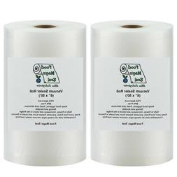2-6x 50 Rolls Food Magic Seal Vacuum Sealer Food Storage Bag