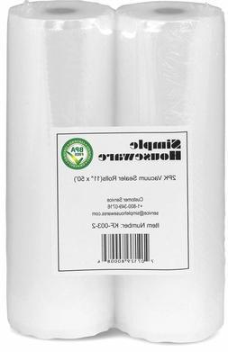 "2 Pack - 11"" x 50' Vacuum Sealer Rolls Food Storage Saver Co"