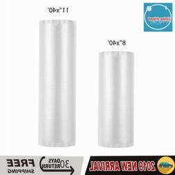 "2 Rolls Food Vacuum Sealer Bags 11""x50 & 8""x50 4Mil Storage"