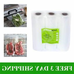 "3 Roll Pack 8"" x 20' Vacuum Sealer Bags Rolls for Food Saver"