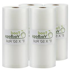 4 FoodVacBags Embossed 8x50 Rolls Vacuum Sealer Bags for Foo