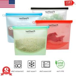 4Pack Reusable Food Storage Bags Fruit Silicone Leak-Proof Z