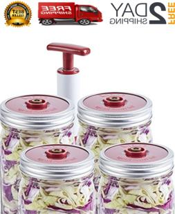 4Pc Lids Set For Wide Mouth Mason Jar With Sealer Extractor