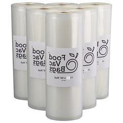 6 Giant 11x50 FoodVacBags Food Storage Vacuum Sealer Rolls!