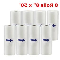 8 Rolls 8x50 Vacuum Sealer Embossed Heavy Duty Bags for Food