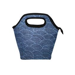Authentic Japanese Indigo Insulated Lunch Bag Box Cooler Reu