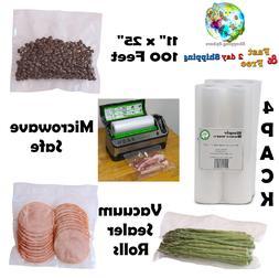 """Four 8"""" 25' Rolls Va cuum Sealer Storage Bags Food Saver - 4"""