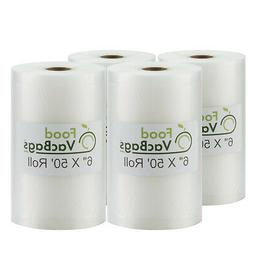 "Four 6"" X 50' Rolls of FoodVacBags Vacuum Sealer Bags"