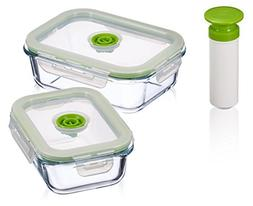 5-pc Glass Vacuum Food Storage Containers, Rectangle