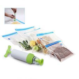 Hand Pump Handheld Food Vacuum Sealer+5Pcs Food Storage Vacuum Ziplock Bags Hot