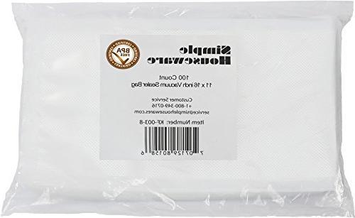 "100 Count - Gallon Size 11"" x 16"" Vacuum Sealer Bag Food Sto"
