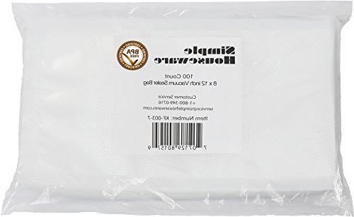 "100 Count - Quart Size 8"" x 12"" Vacuum Sealer Bag Food Stora"