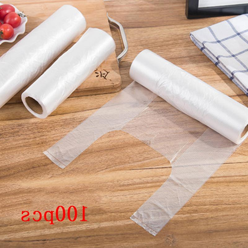 100pcs roll transparent vest style roll food