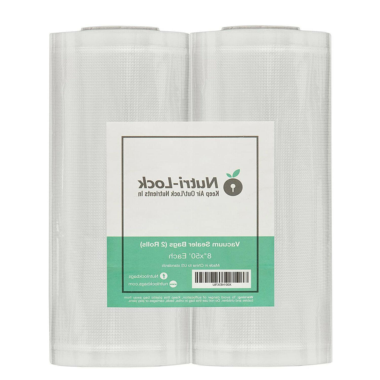 2 Pack 8x50 Vacuum Sealer Rolls Commercial Grade Food Vac Sa