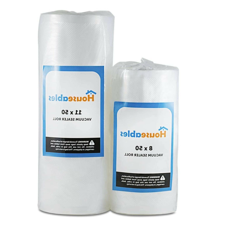 Vacuum Sealer Bags 2 Rolls 11x50 & 8x50 Commercial Grade Sto