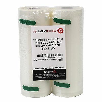 2 Large Commercial Bargains 8 50' Vacuum Food Sealer Saver Bags