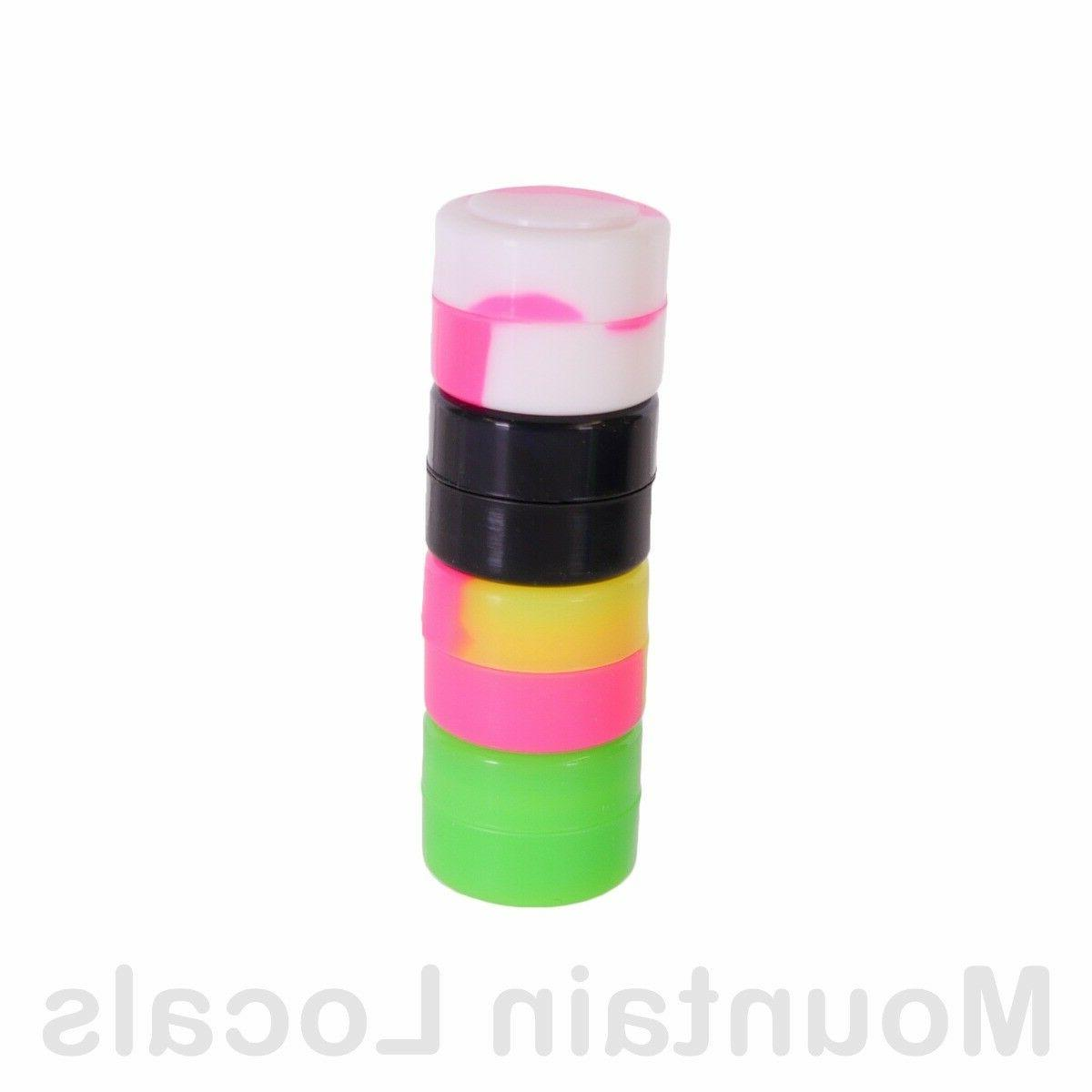 10 Pack 2ml Silicone Containers 2 ml Mixed Colors Nonstick Jars Lot