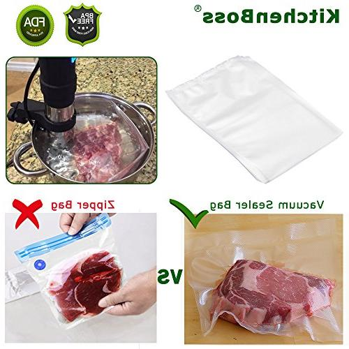"""Vacuum Bags Pint 6""""x10"""" KitchenBoss Commercial Food Storage Bags for Food Sous and"""