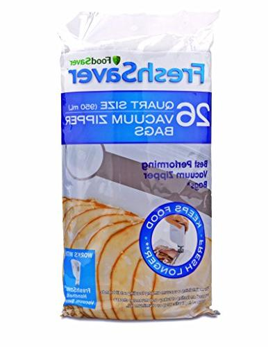 FoodSaver 1-Quart FreshSaver Vacuum Zipper Bags, 26 Count