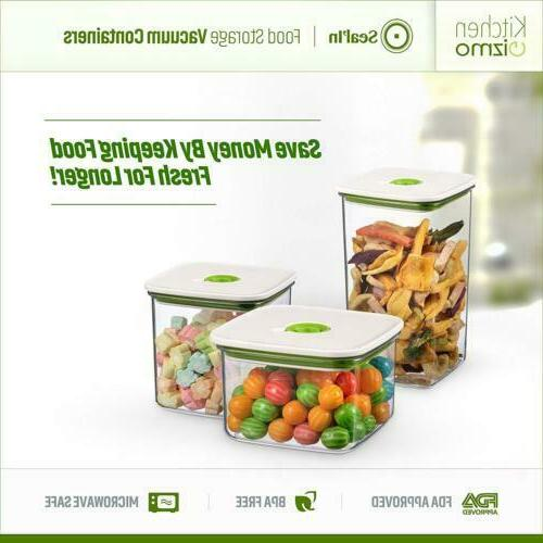 """Seal'In Food Storage Vacuum Containers with """"Patented Design"""