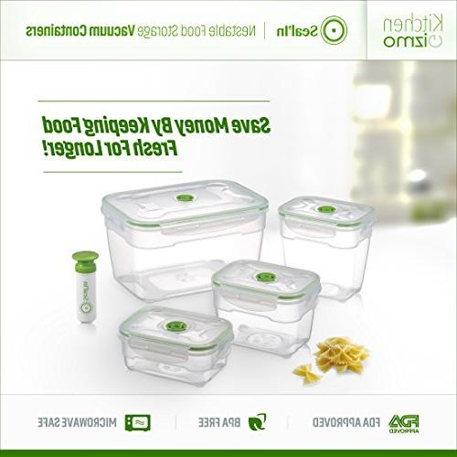 Seal'In Food Vacuum Containers Set of Vacuum Sealed, Safe