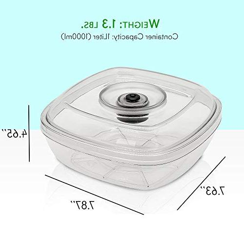 Air Vacuum Seal Container - Capacity Kitchen Reusable Food Saver Sealer Box Canister Meal Lunch, Bread, Food Fresh Tasty NutriChef