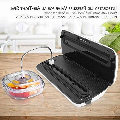 Air Vacuum Seal Container 2 Capacity Food Sealer Storage Box Prep, Lunch, Food Fresh NutriChef PKVSCN2L