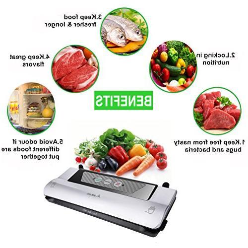 Aobosi in 1 Vacuum Food with Convenient Cutter Grade Bag Packing for Sous Vide Cooking Preservation, One-button