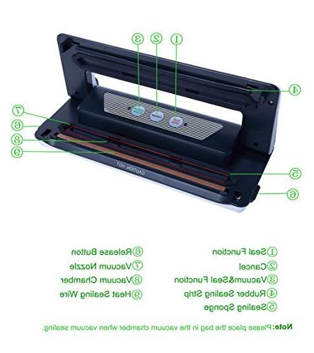 Aobosi Vacuum Sealer in 1 Food Sealer with Convenient Cutter Food Bag Vacuum Packing Machine Vide Food Preservation, Easy