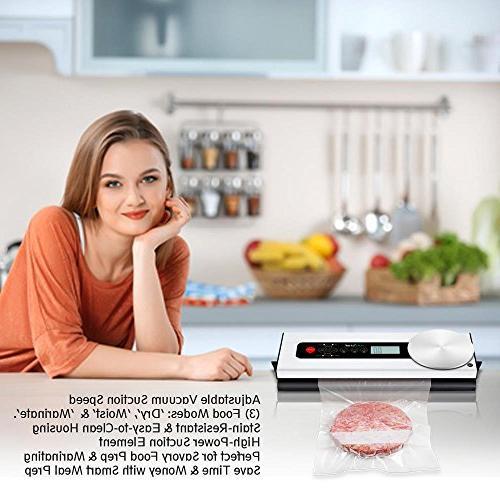 NutriChef Handheld Vacuum Machine - & Manual Fresh Food Saver - Dry Moist Storage Home Kitchen Sealing System Roll PKVS36STS