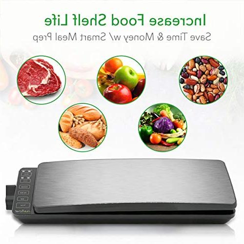Automatic Food Vacuum System 110W Meat Packing Preservation Sous 2 Seal Modes, Saver Vac Roll Air Hose NutriChef PKVS35STS