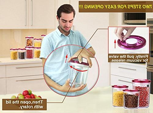 G.S Airtight Food Storage Vacuum Lid, BPA-Free Plastic, Food - 3 Piece