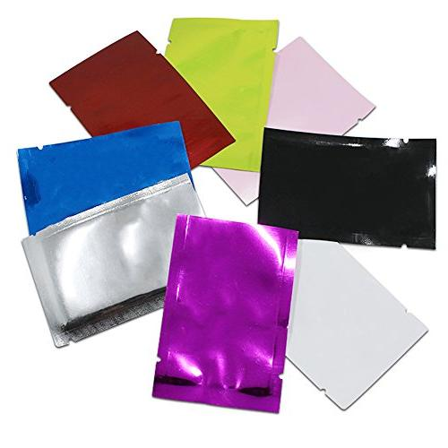 """200 Pcs Multi Colors 2.8""""x3.9"""" Foil Open Mylar Packaging Vacuum Coffee Tea Pouch with Tear"""