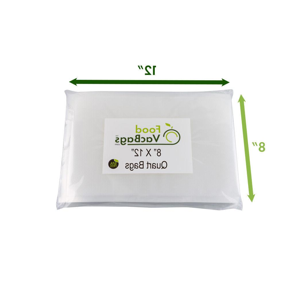 100 8X12 QUART FoodVacBags for machine 4mil Storage Vacuum