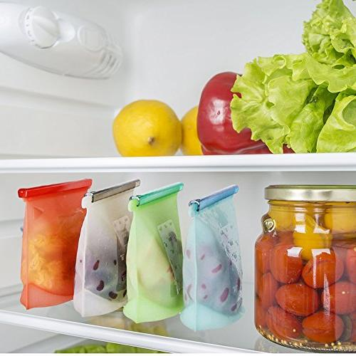 Reusable Bag Storage Bag Container for Vegetables Meat by SUQI set 4