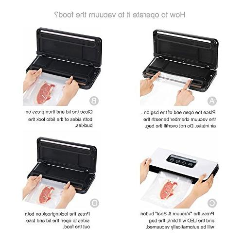 Micho Sous Sealer Vacuum Sealing for Foods Preservation, with Intelligent Lights