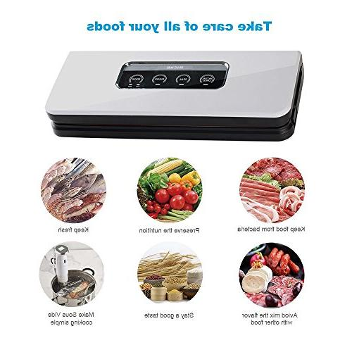 Micho Sous Vacuum Sealer Vacuum for Dry and Foods Preservation, Multipurpose Sucker with Intelligent LED Indicator Lights and Manual Mode