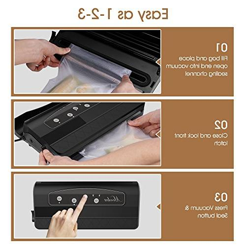 Mooka TVS-2150 Vacuum Sealer 2 IN Sealer with 10 | Roll Storage/Removable Tray | Moist | Up Seals