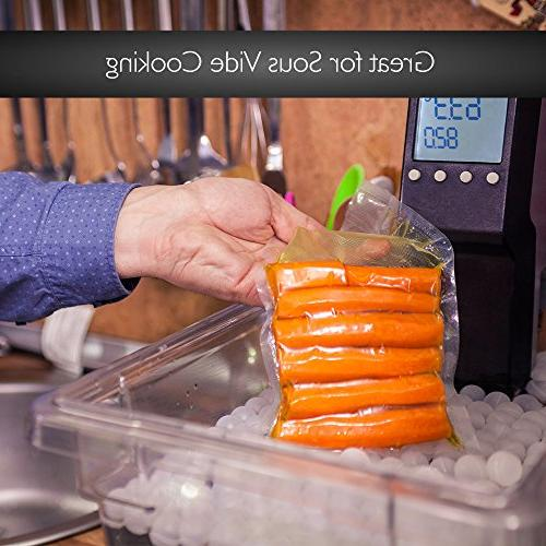 NutriChef Vacuum Sealer Bags, 2 Grade Food Rolls, Your Size Bag! For Foodsaver, and Other