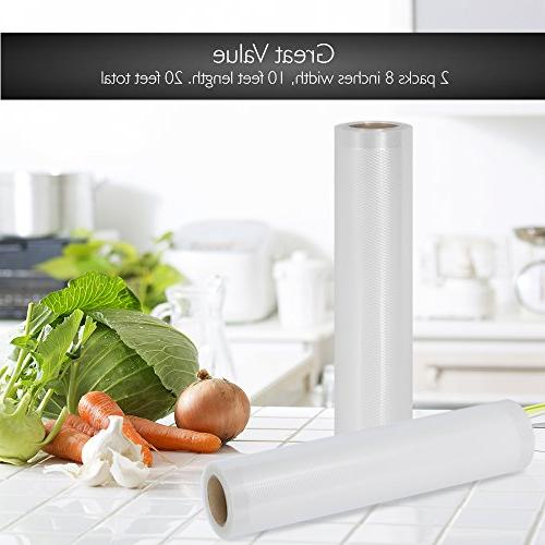 NutriChef Two mil Commercial Vacuum Sealer Food Rolls | Size For NutriChef, Foodsaver, Brands.