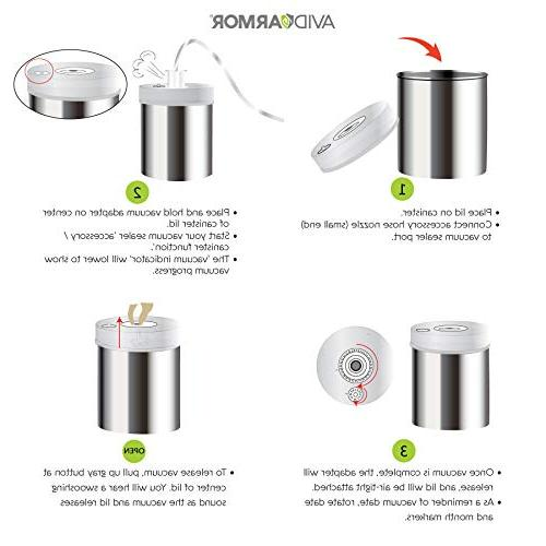 Avid Storage with Stainless Bottoms, Clear See-Thru Lid with Vacuum Indicator Universal Attachment Keeps Food Coffee,