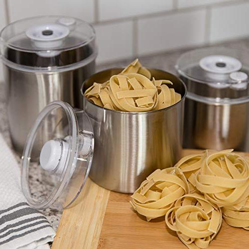 Avid Storage 3-Piece with Bottoms, See-Thru Vacuum Indicator Hose Attachment Fresh Coffee, Fruit,