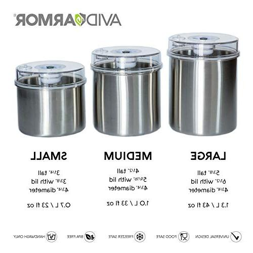 Avid Armor Vacuum Storage with Stainless See-Thru Lid with Indicator Attachment Keeps Coffee,