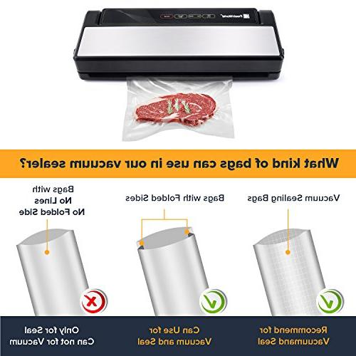 Vacuum Sealer, Fresh 4 Stainless with Touch Screen, Built-in Cutter and For & Moist Food,