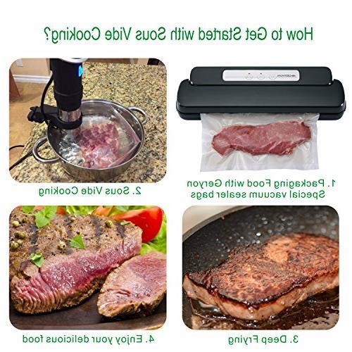 GERYON Vacuum Sealer, Food Starter & for Savers Sous Black
