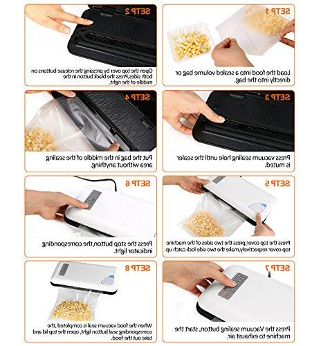 Vacuum Sealer Automatic&Manual Food Sealer Food Kit Lights,Compact Vacuum Bags