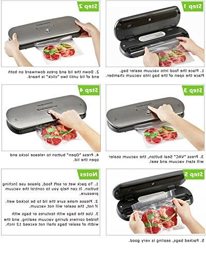 KitchenBoss Vacuum for Dry Moist Foods Automatic Sealing Indicator Lights,with Inclued PCS