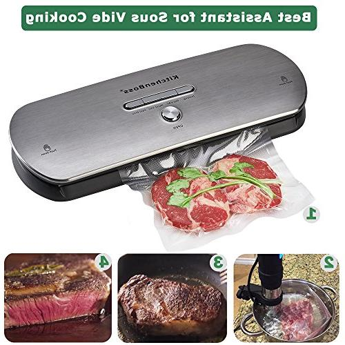 """Vacuum Sealer Bags Pint Size 6""""x10"""" . KitchenBoss Commercial Grade Food Vacuum for and Sous and FDA"""
