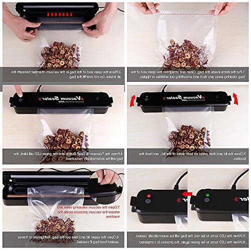 Vacuum Food Packing Machine with Hose Vacuum Sealing Moist Preservation Storage 15pcs Bags